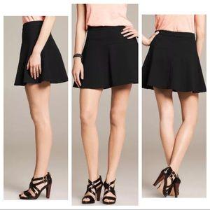 Banana Republic Black Ponte Fit & Flare Mini Skirt